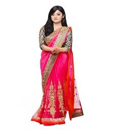 Buy Pink printed Net saree With Blouse net-saree online