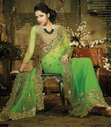 Buy Green Net With Zari With Stone Work Designer Sarees 7214 net-saree online