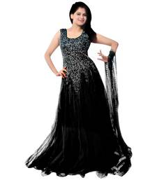 Buy Black embroidered soft net unstitched gown with dupatta party-wear-gown online