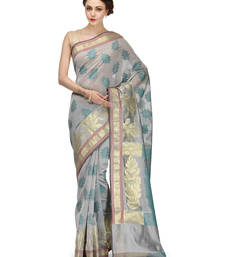 Buy grey woven blended cotton saree With Blouse banarasi-saree online