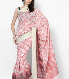 Buy white woven blended cotton saree With Blouse banarasi-saree online