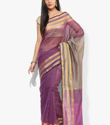 Buy magenta woven super net saree With Blouse supernet-saree online