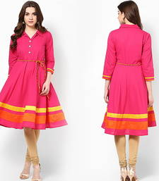 Buy Pink Cotton printed semi stitched kurti cotton-kurti online