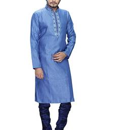Buy Blue jaquard embroidered kurta pyjama gifts-for-dad online