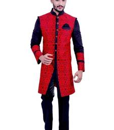 Buy red with black brocade printed Jodhpuri Sherwani jodhpuri-sherwani online