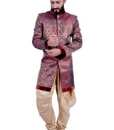 Buy marron with gold brocade printed Jodhpuri Sherwani jodhpuri-sherwani online