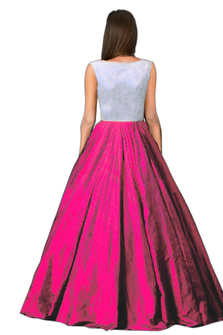 Buy Pink Raw Silk Embroidered Semi Stitched Party Wear