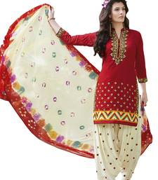 Buy Red pure cotton embroidered unstitched salwar with dupatta patiala-salwar online