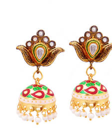 Buy Antique kundan-meenakari jhumki earring set jhumka online