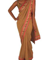 Buy Gold/Creme shimmer georgette saree georgette-saree online