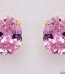 Buy ELEGANT SINGLE STONE STUDDED OVAL TOPS/STUDS/EARRINGS (PINK) - PCE1083 Other online