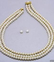 Buy SIMPLE & SOBER TRIPLE STRING SHELL PEARLS SET FROM HYDERABAD - PCN1013 necklace-set online