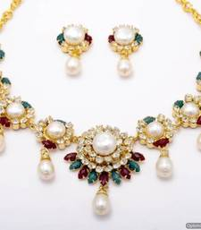 Buy PEARLS & STONES NECKLACE SET FROM HYDERABAD (AD RED GREEN) - PCN1044 necklace-set online