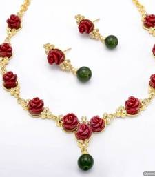 Buy BEAUTIFUL FLOWER CORAL NECKLACE SET WITH EARRINGS (RED) - PCN1046 Necklace online