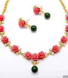 Buy BEAUTIFUL FLOWER CORAL NECKLACE SET WITH EARRINGS (PINK) - PCN1049 Necklace online