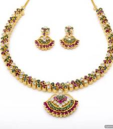 Buy BELL NECKLACE SET WITH EARRINGS (AD RUBY EMRALD) - PCN1065 Necklace online