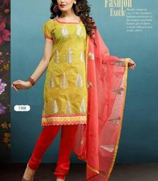 Buy Beautiful Olive Yellow and Peach Chanderi Salwar salwars-and-churidar online
