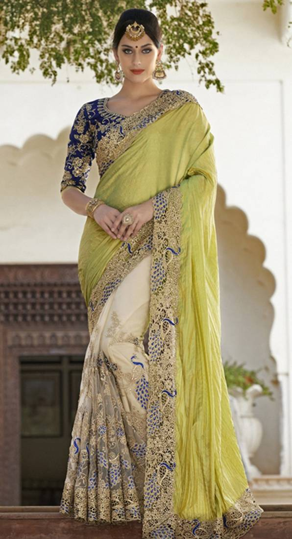 Buy Light Yellow Embroidered Georgette Saree With Blouse