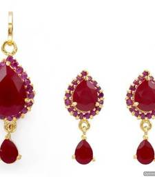 Buy EXOTIC STONE STUDDED PAAN LOCKET SET WITH EARRINGS (RUBY) - PCL1011 Pendant online