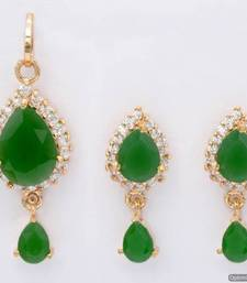 Buy EXOTIC STONE STUDDED PAAN LOCKET SET WITH EARRINGS (AD EMRALD) - PCL1015 Pendant online