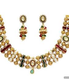 Buy ANTIQUE GOLDEN STONE STUDDED UNIQUE KUNDAN MEENA HANDMADE NECKLACE SET (RED GREEN PEARL)  - PCAN4011 necklace-set online