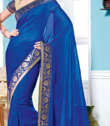 Buy Vishal Georgette Blue Saree Tropical Bloom 31612D party-wear-saree online