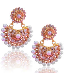 Beautiful white glow pearl polki earring, ethnic Indian Bollywood Jewelry c435w shop online