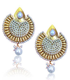 Buy Full of pearls with golden ethnic work  pearl earring c163w DDS 6 gifts-for-her online