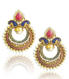Buy Classic Peacock Meenakari Earrings with Rich Stone and Pearl Work by ADIVA c2mg danglers-drop online