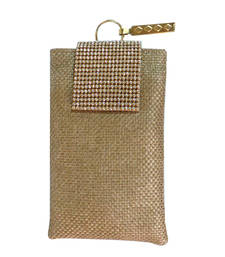 Buy Diamonte Flap Jute Mobile Cover (Gold 2) wallet online