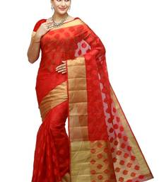 Buy red woven organza saree With Blouse organza-saree online