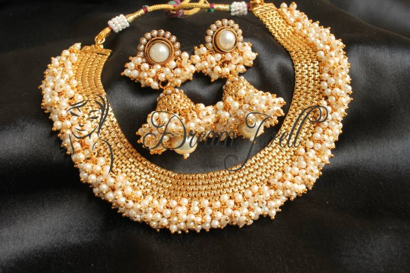 Buy Gorgeous Antique Pearl Cluster Beautiful Necklace Set