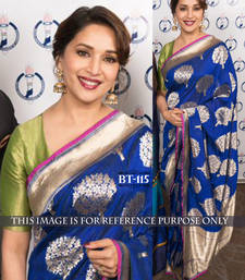 Buy blue embroidered art silk saree With Blouse madhuri-dixit-saree online