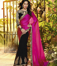 Buy magenta embroidered georgette saree With Blouse georgette-saree online