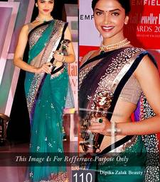 Buy Indian Bollywood Replica Ethnic Deepika Net Green Saree deepika-padukone-saree online
