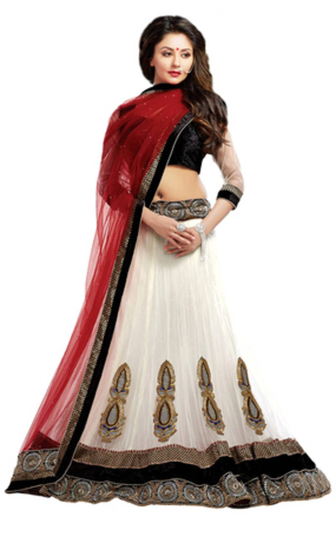 Buy White Net Party Wear Ghagra Choli Online
