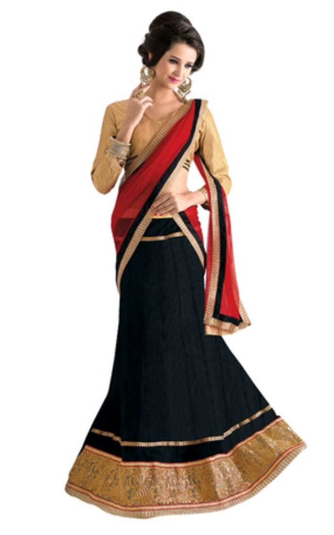 Buy Black Soft Net Party Wear Ghagra Choli Online