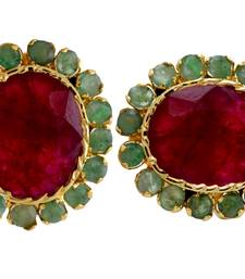 Buy BEAUTIFUL SMALL EMRALD RUBY STONE STUDDED TOPS stud online