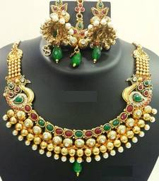 Buy Golden Peacock necklace Necklace online