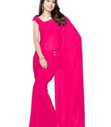 Buy pink plain georgette saree With Blouse below-300 online