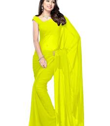 Buy yellow plain georgette saree With Blouse below-300 online