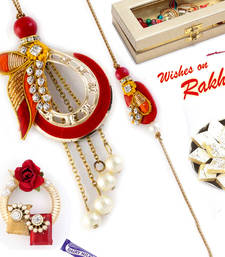 Buy Pearl & AD Studded Red & yellow Bhaiya Bhabhi Rakhi Set rakhi-international online