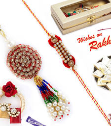 Buy Zardosi and American Diamond Bhaiya Bhabhi Rakhi Set rakhi-international online