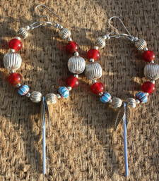 Buy RED, SKY BLUE AND SILVER HOOPS. thanksgiving-gift online