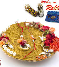 Buy Amazing Floral Motif Rakhi Pooja Thali with Set of Bhaiya Bhabhi Rakhis rakhi-international online