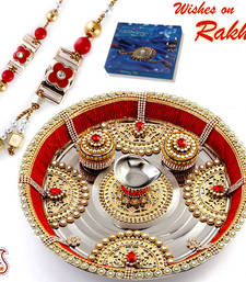 Buy Red Crystal Beads & Gold Motifs Rakhi Pooja Thali with Set of Bhaiya Bhabhi Rakhis rakhi-international online