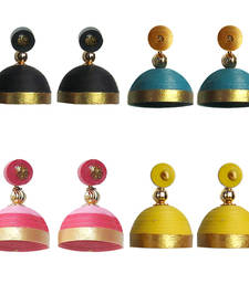 Buy Combo pack of four trendy quilled jhumkas jhumka online