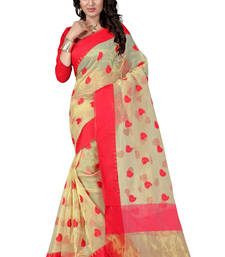 Buy Red hand woven ORGANZA  saree With Blouse organza-saree online