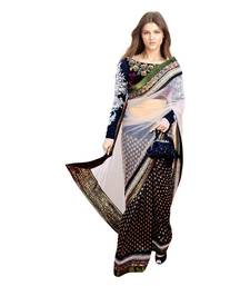 Buy Black embroidered viscos saree With Blouse viscose-saree online