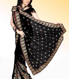 Buy Sable black faux georgette saree with blouse (anm500) georgette-saree online